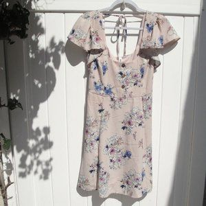 Pink Floral Dress with Ruffled Sleeves